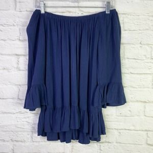 Beach Lunch Lounge Navy Blue Off The Shoulder